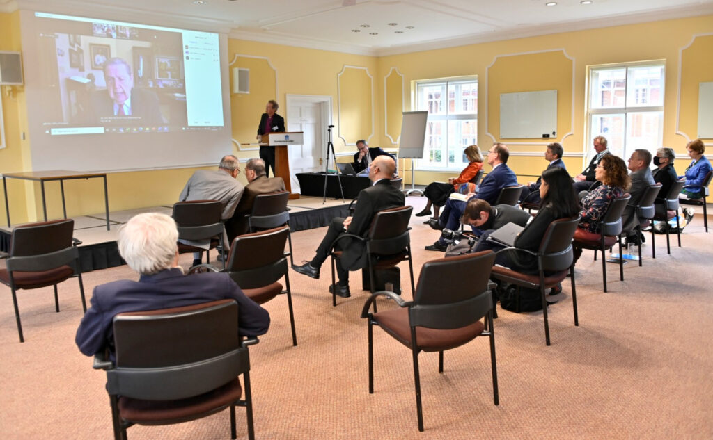 Attendees listen as Elder Jeffrey R. Holland of the Quorum of the Twelve Apostles virtually participates in the 2021 AMAR Windsor Dialogue Conference, held June 21-23, 2021, at the historic Cumberland Lodge, in Windsor, England.