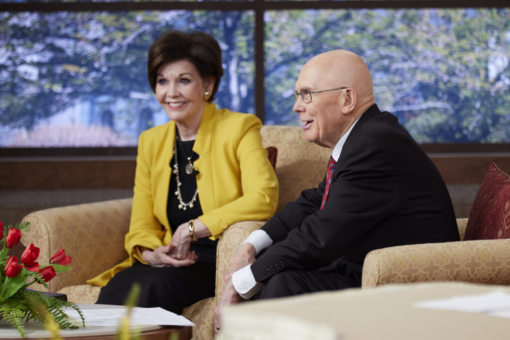 President Dallin H. Oaks, first counselor in the First Presidency, and his wife, Sister Kristen M. Oaks, speak during a devotional broadcast to Church Educational System teachers and administrators and their spouses on June 4, 2021.