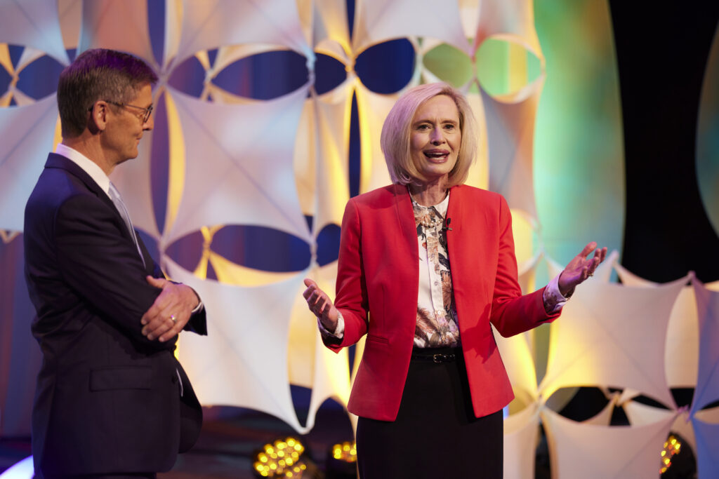 """Young Women General President Bonnie H. Cordon and Young Men General President Steven J. Lund speak during a presentation titled """"Supporting Children and Youth: A Broadcast for Parents and Leaders,"""" which was broadcast on Sunday, June 6, 2021."""