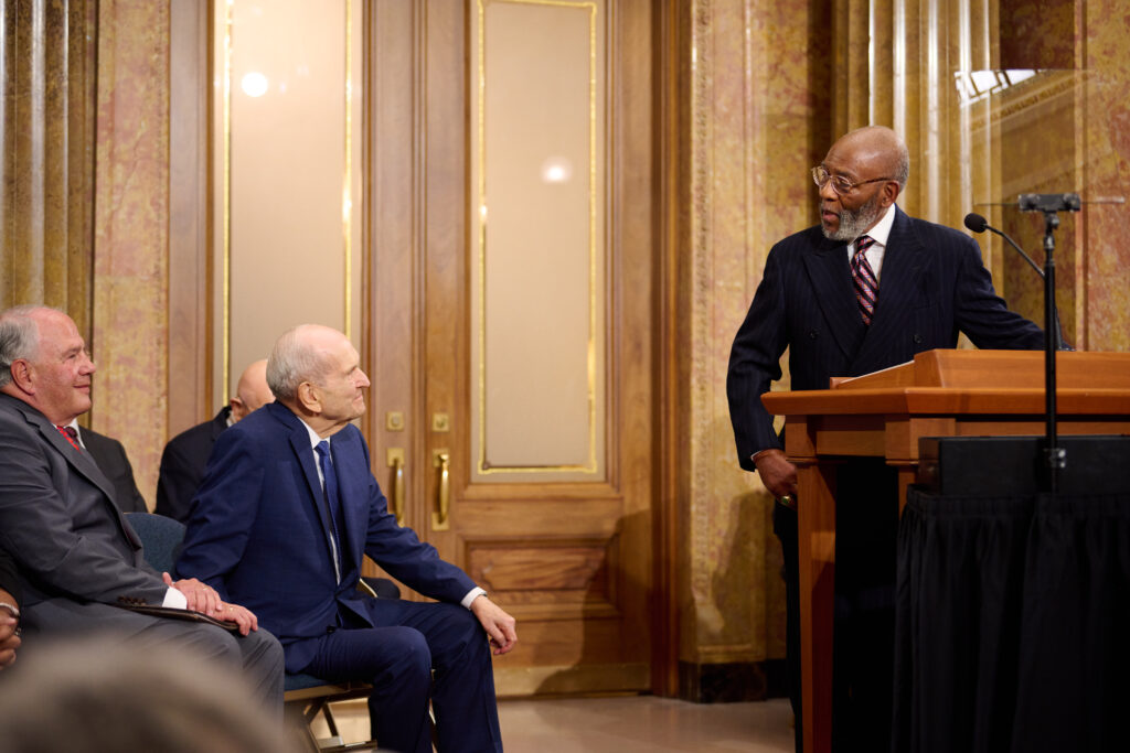 The Rev. Amos C. Brown speaks at a news conference with NAACP leadership in the Church Administration Building on Temple Square in Salt Lake City on June 14, 2021.