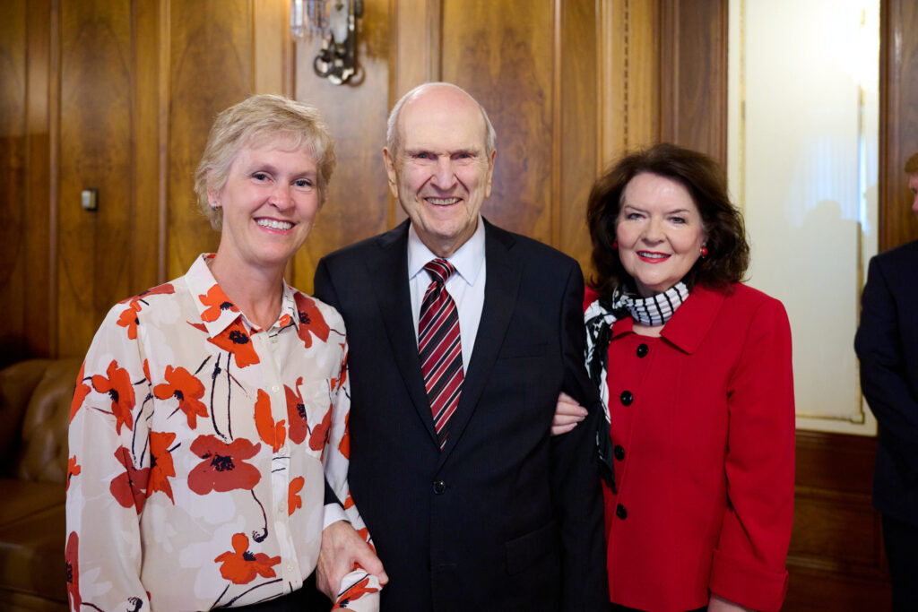 Katie Eccles of the University of Utah board of trustees poses with President Russell M. Nelson and Sister Wendy W. Nelson during an honorary doctorate ceremony for President Nelson on Tuesday, June 15, 2021, at the Church Administration Building.
