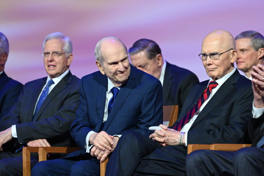 President Russell M. Nelson smiles prior to the start of the 2021 Seminar for New Mission Leaders broadcast from the Conference Center Theater in Salt Lake City, Utah, June 24-26.