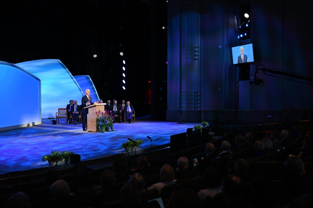 Elder Dieter F. Uchtdorf of the Quorum of the Twelve Apostles speaks during the Thursday, June 24, session of the 2021 Seminar for New Mission Leaders, held in the Conference Center Theater.