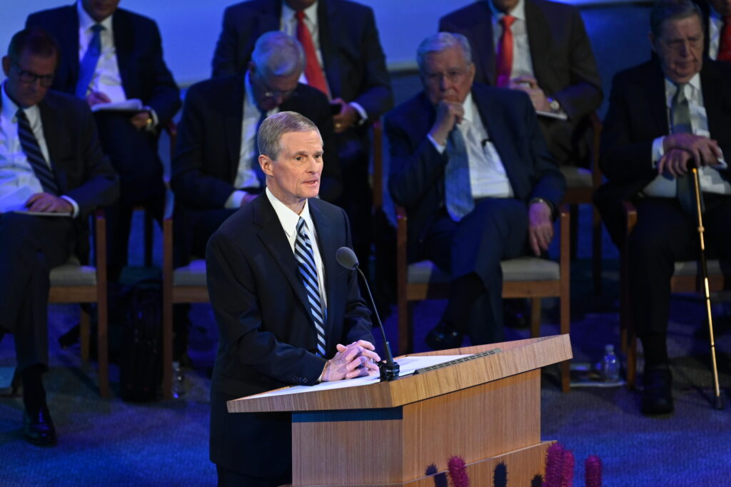Elder David A. Bednar of the Quorum of the Twelve Apostles speaks during the 2021 Seminar for New Mission Leaders on June 24 broadcast from the Conference Center Theatre in Salt Lake City, Utah.