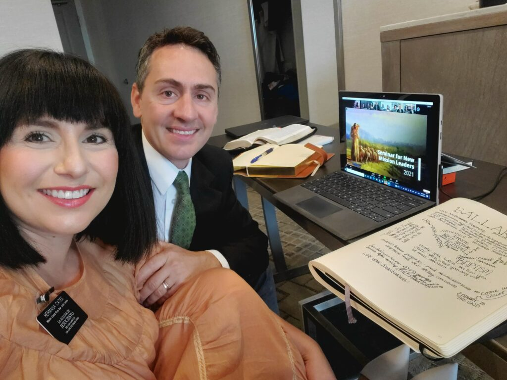 Sister Nadia A. Cates and President Shawn R. Cates, to serve in the Costa Rica San José West Mission, participate in the 2021 Seminar for New Mission Leaders in a hotel room in Chula Vista, California.