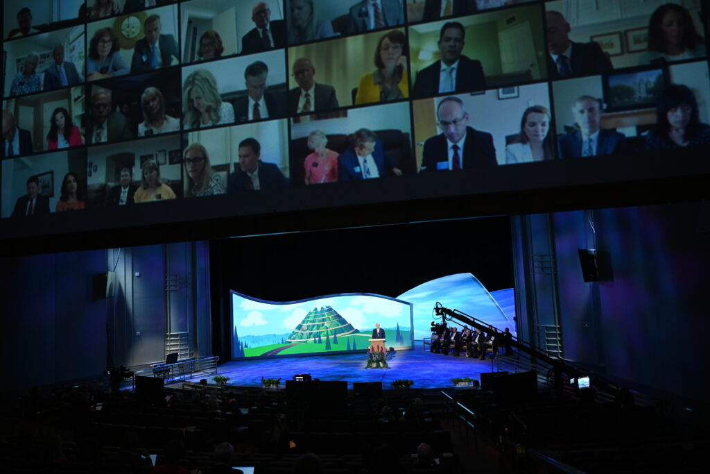 Elder Dale G. Renlund of the Quorum of the Twelve Apostles speaks during the second day of the 2021 Seminar for New Mission Leaders on June 25, 2021, in the Conference Center Theater.