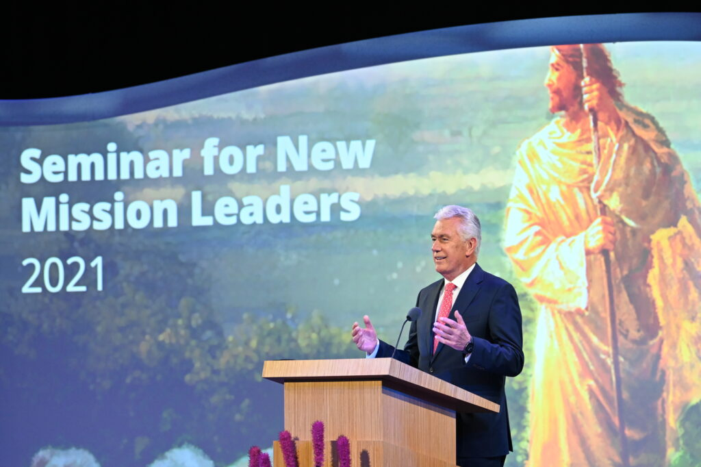 Elder Dieter F. Uchtdorf of the Quorum of the Twelve Apostles conducts a session of the 2021 Seminar for New Mission Leaders on June 26, 2021, broadcast from the Conference Center Theater in Salt Lake City, Utah.