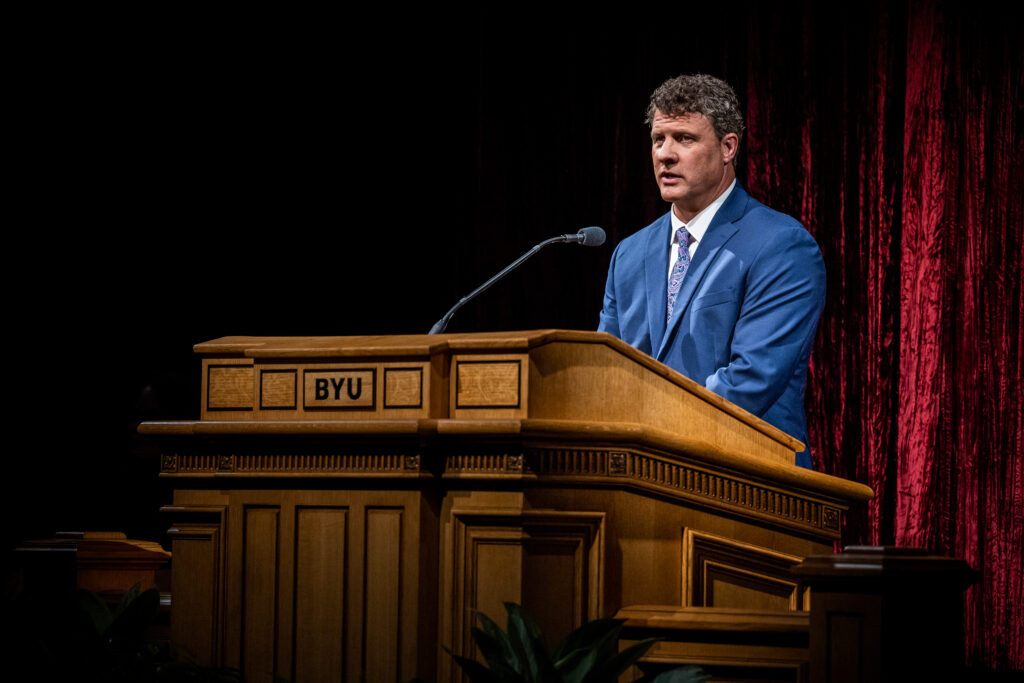 """BYU professor Steven Harper instructs students about """"becoming a seeker,"""" in a BYU devotional June 8, 2021."""