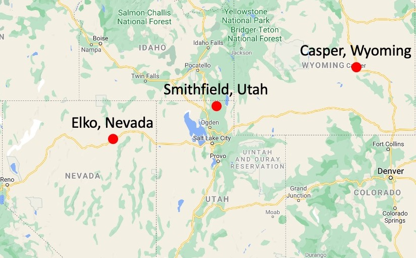 Site locations for the Casper Wyoming, Elko Nevada and Smithfield Utah temples were announced June 9, 2021.
