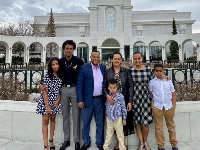 Betelhem (Betty) Zermariam, center right, and her family in front of the Bountiful Utah Temple. A recent article published by LDS Living highlights the conversion and pioneering life of this Ethiopian family.