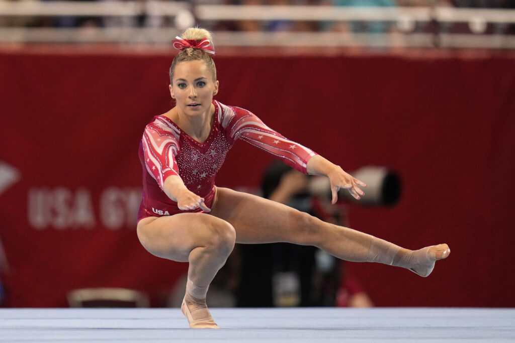 MyKayla Skinner competes in the floor exercise during the women's U.S. Olympic Gymnastics Trials on Friday, June 25, 2021, in St. Louis.