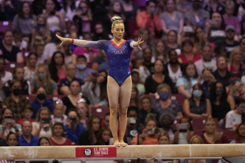 MyKayla Skinner competes on the beam during the women's U.S. Olympic Gymnastics Trials Sunday, June 27, 2021, in St. Louis.