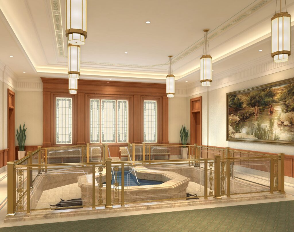Rendering of the baptistry in the Pocatello Idaho Temple.