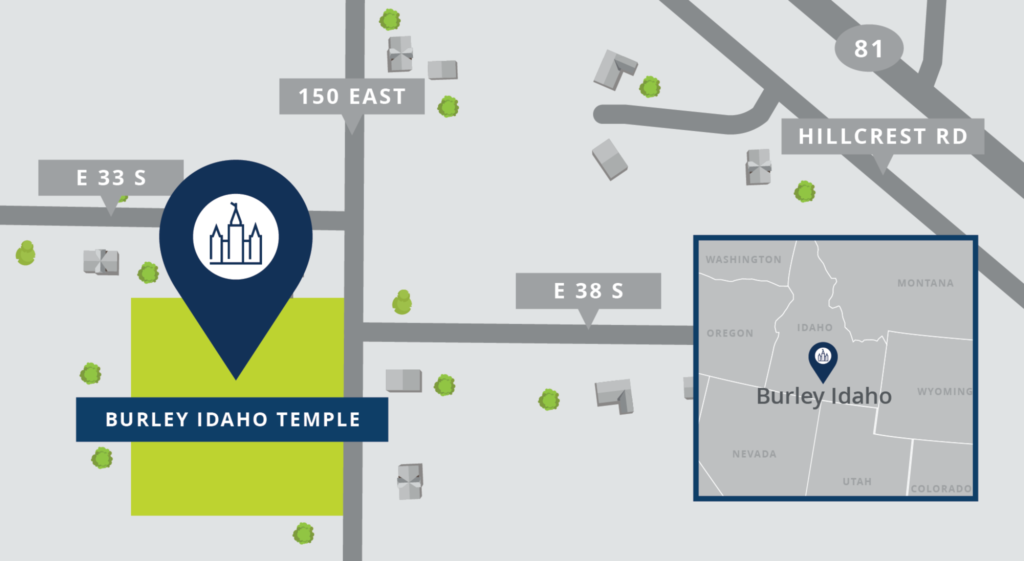 Site location for the Burley Idaho Temple, as announced June 23, 2021.