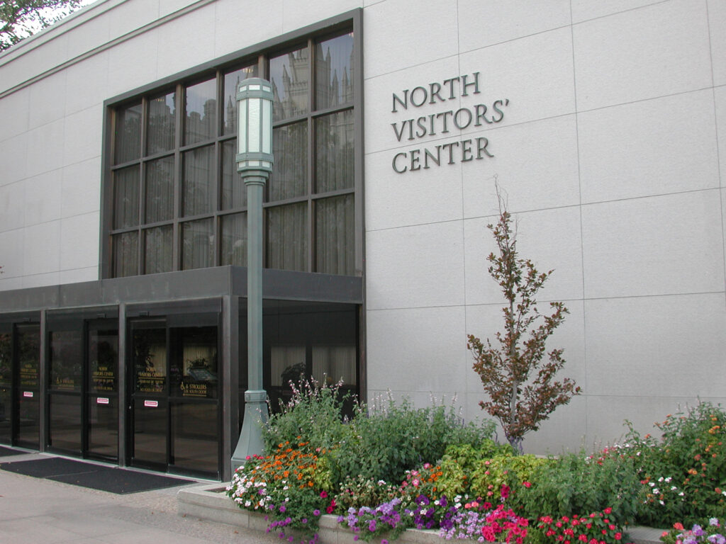 The exterior of the North Visitors' Center on Temple Square in Salt Lake City.