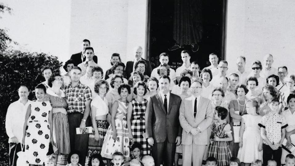On April 28, 1961, around 100 Latter-day Saints gathered on the grounds of the American War Memorial Cemetery at Fort Bonifacio as Elder Gordon B. Hinckley, then an Assistant to the Quorum of the Twelve Apostles, rededicated the Philippines for missionary work.