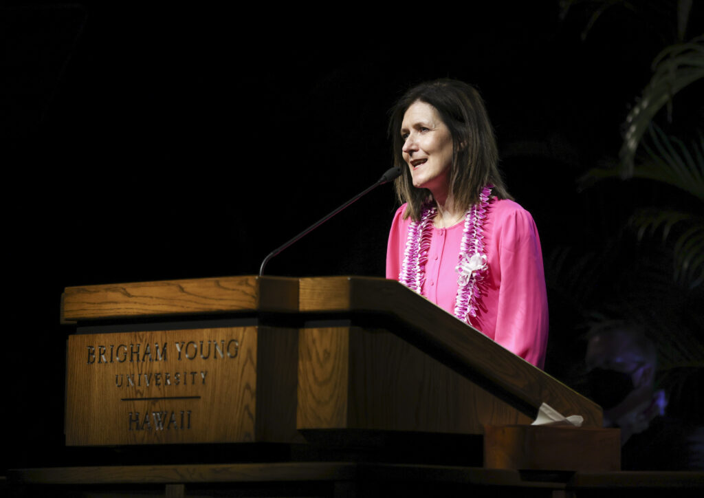 Sister Michelle D. Craig of the Young Women general presidency gives the devotional address on the BYU–Hawaii campus in Laie, Hawaii, on June 8, 2021.