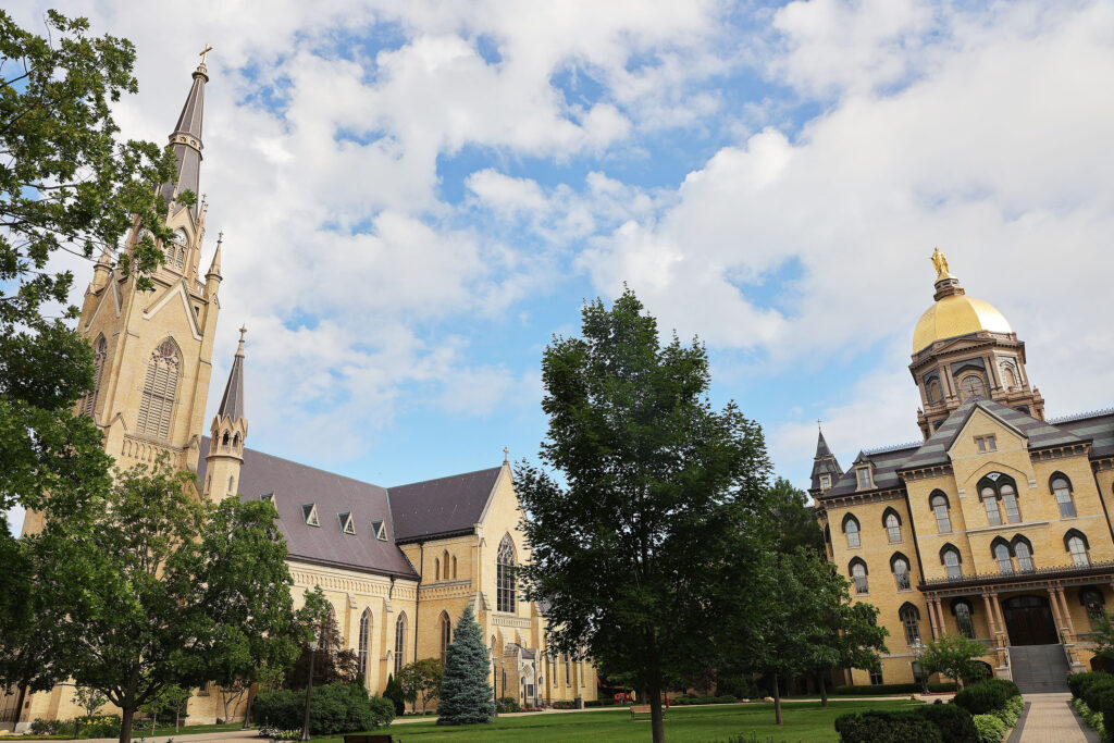 The Basilica of the Sacred Heart and the Notre Dame Golden Dome at the University of Notre Dame in Notre Dame, Indiana, on Monday, June 28, 2021.