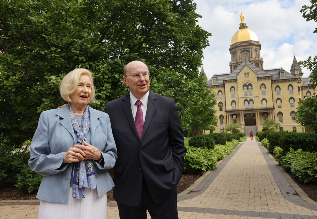 Elder Quentin L. Cook, of The Church of Jesus Christ of Latter-day Saints' Quorum of the Twelve Apostles, and his wife, Sister Mary G. Cook, walk near the Notre Dame Golden Dome during the Notre Dame Religious Liberty Summit at the University of Notre Dame in Notre Dame, Indiana on Monday, June 28, 2021. The annual gathering involves thought leaders of religious liberty.