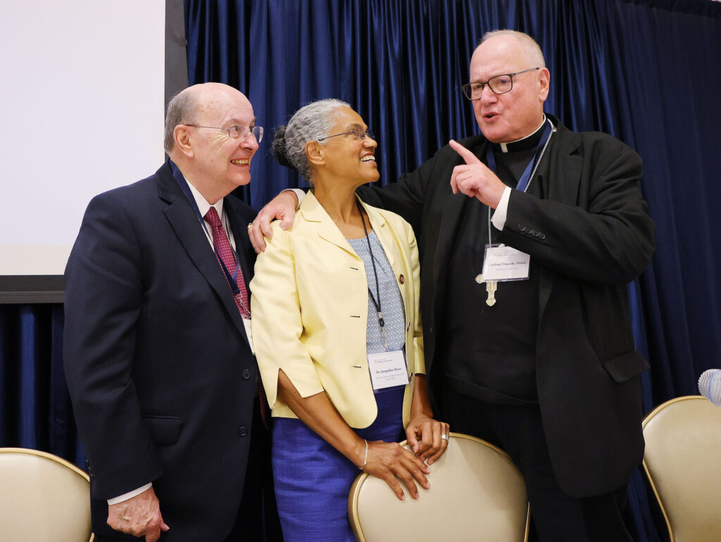 Elder Quentin L. Cook, a member of the Quorum of the Twelve Apostles of The Church of Jesus Christ of Latter-day Saints, Dr. Jacqueline Rivers,executive director of theSeymour Institute for Black Church and Policy Studies, and Cardinal Timothy Dolan, Archbishop of New York, talk during the Notre Dame Religious Liberty Summit at the University of Notre Dame in Notre Dame, Indiana, on Monday, June 28, 2021.