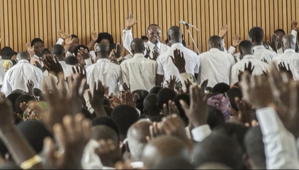 This photo from Elder LeGrand R. Curtis Jr. shows a stake conference in Ghana where men are being presented to receive the Melchizedek Priesthood. Elder Curtis shared the photo during an Evening from the Museum presentation streamed on Thursday, June 17, 2021.