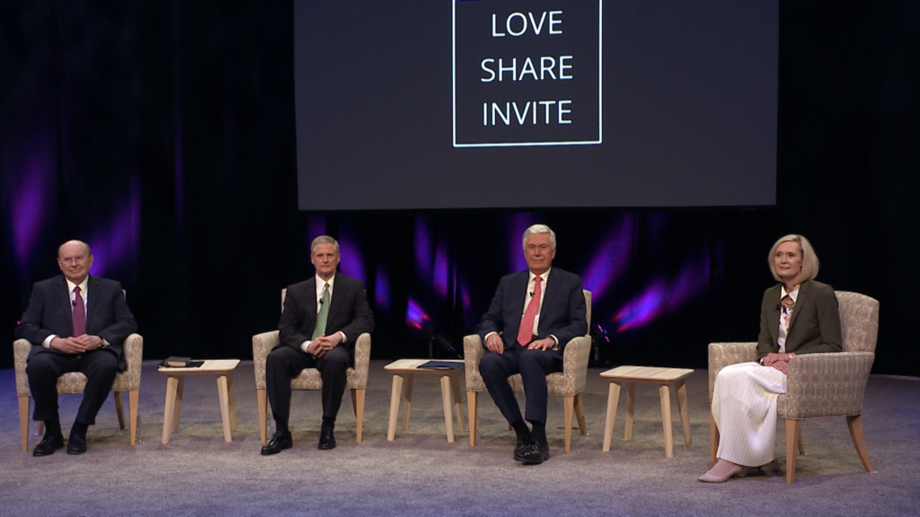 Members of the Quorum of the Twelve Apostles, Elders Quentin L. Cook, David A. Bednar and Dieter F. Uchtdorf, discuss the missionary principles of love, share and invite with President Bonnie H. Cordon, Young Women general president, during a special missionary broadcast on Saturday, June 26, 2021