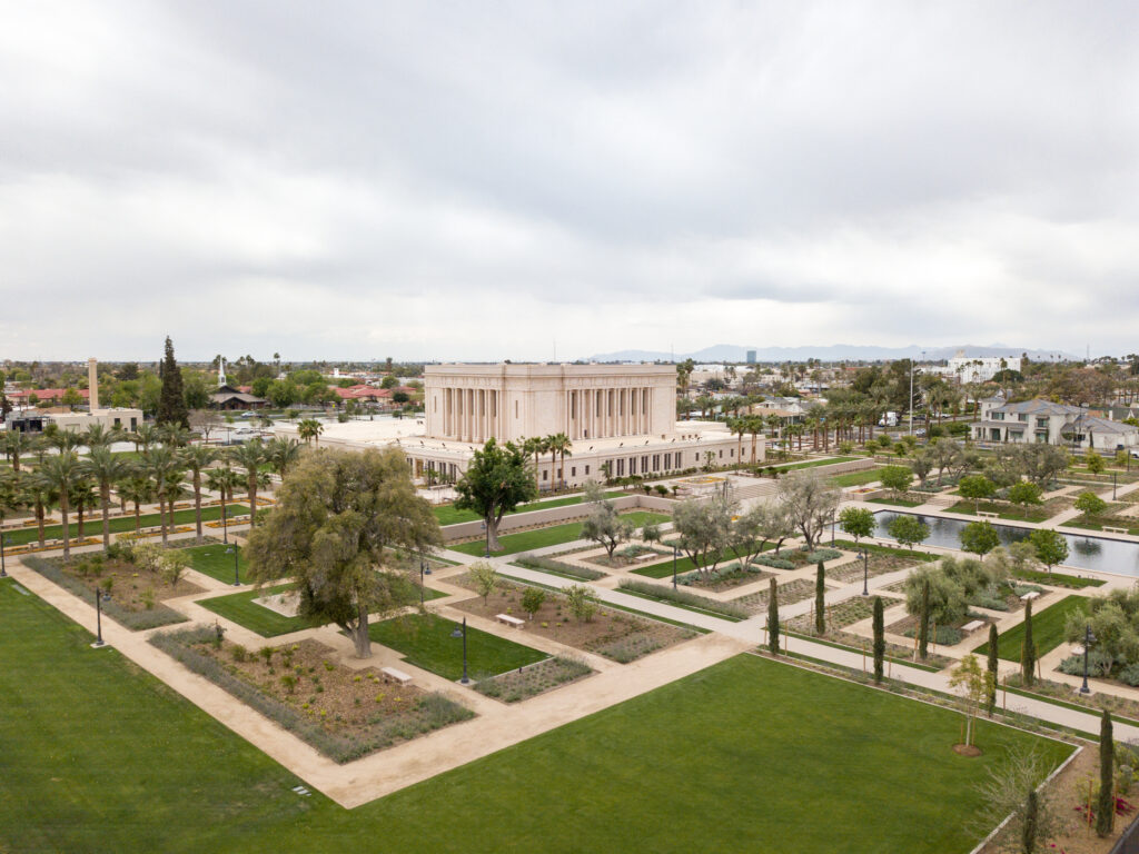 A view of the recently renovated Mesa Arizona Temple and the temple grounds in Mesa, Arizona, in April 2021.