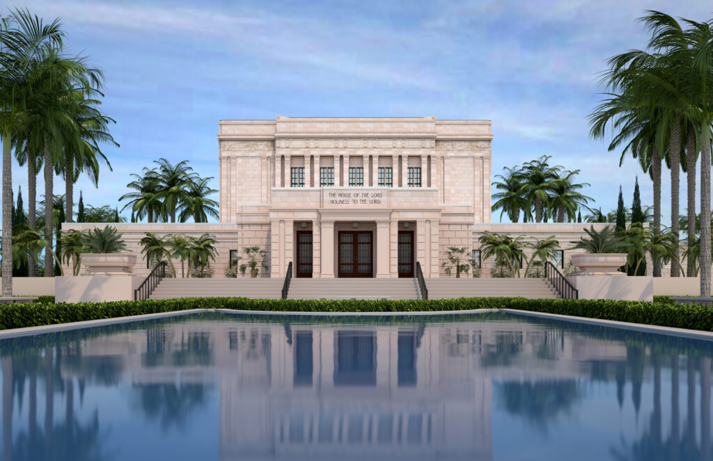 Rendering of the exterior of the renovated Mesa Arizona Temple.