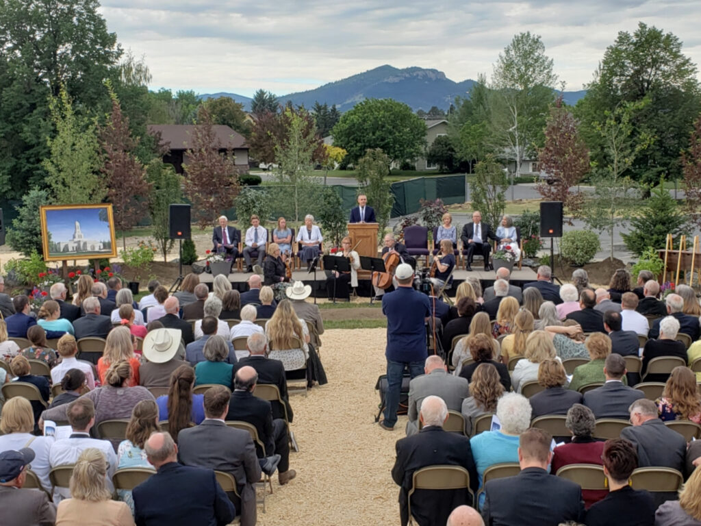 Bret Romney, president of the Helena Montana Stake, conducts the groundbreaking service of the Helena Montana Temple on Saturday, June 26, 2021.