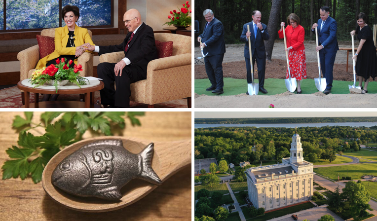 During the week of May 30-June 5, clockwise from top left, President Dallin H. Oaks and his wife, Sister Kristen M. Oaks, spoke to CES teachers, and Elder James B. Martino presided at the Tallahassee Florida Temple groundbreaking. The Church News published a video about Elder Quentin L. Cook's thoughts about Nauvoo, and the Church News published an article about Latter-day Saint Charities battling anemia in West Africa with a 2-inch iron fish.