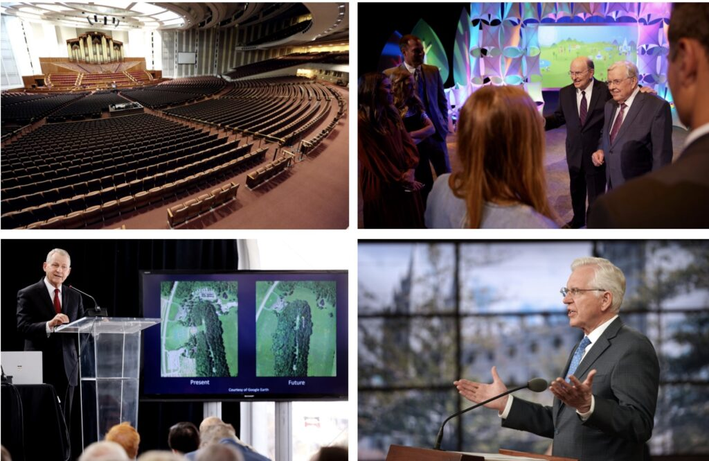 During the week of June 6-12, clockwise from upper left, the First Presidency announced changes to general conference, including the discontinuation of the Saturday night session; President M. Russell Ballard and Elder Quentin L. Cook speak about the Children and Youth program during a presentation broadcast on Sunday, June 6, 2021; Elder D. Todd Christofferson speaks during the worldwide missionary devotional in Salt Lake City on Tuesday, June 1, 2021; and Elder LeGrand R. Curtis Jr. speaks at the Mormon History Association conference about the Hill Cumorah at the Utah Olympic Park in Park City on Friday, June 11, 2021.