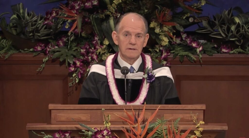 Elder James B. Martino, a General Authority Seventy, speaks to graduates of BYU–Hawaii during the spring commencement broadcast on Saturday, June 26, 2021.