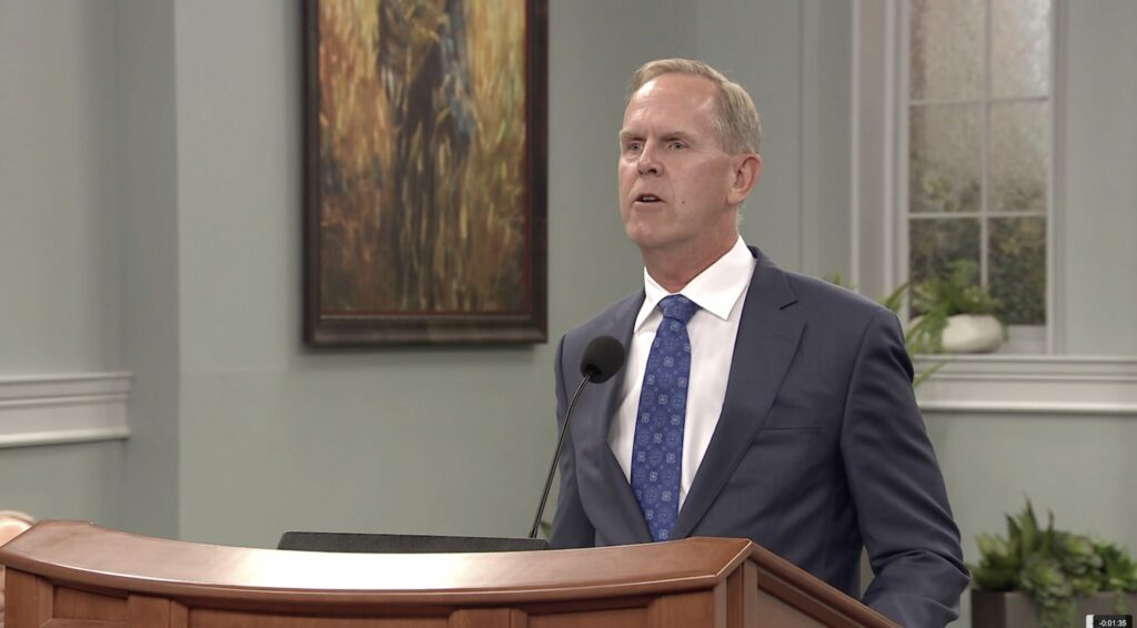 BYU athletic director Tom Holmoe speaks to Ensign College students during a campus devotional broadcast on Tuesday, June 29, 2021.