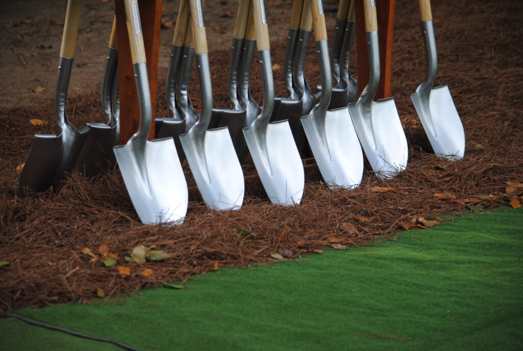 Ceremonial shovels used at the groundbreaking for the Tallahassee Florida Temple on June 5, 2021.