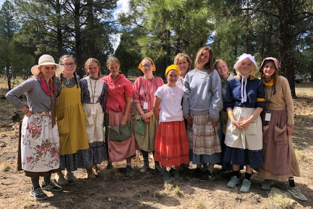 Young women from the Mesa Arizona Kimball Stake and Mesa Arizona Kimball East Stake participate in bison disc golf during a youth trek May 26-28, 2021, near Forest Lakes, Arizona.