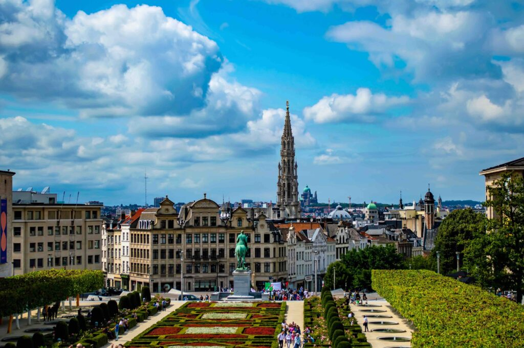 Cityscape of Brussels, Belgium, in July 2019. Brussels was identified during April 2021 general conference as a site for a temple.