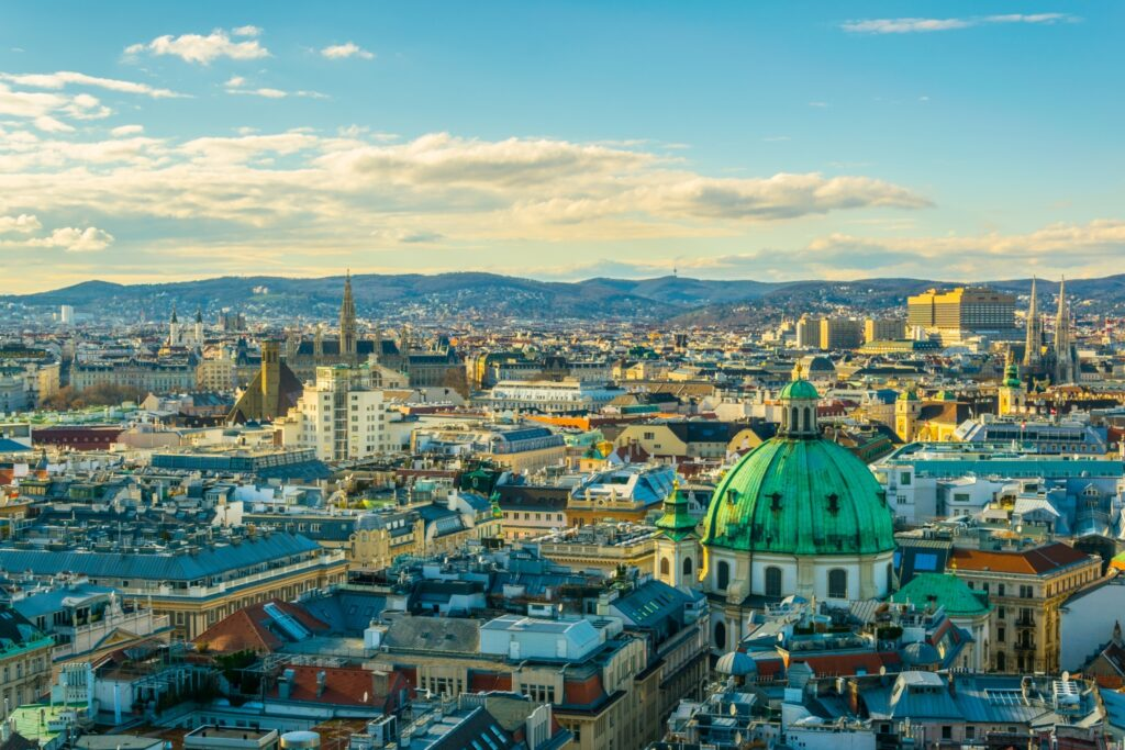 Aerial view of Vienna, Austria, from Stephansdom Cathedral. Vienna was identified during April 2021 general conference as a site for a temple.