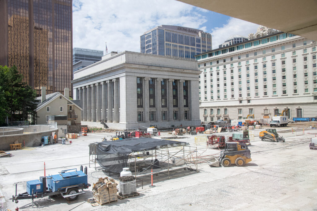 Work continues on the Church Office Building plaza in Salt Lake City in July 2021 as damaged concrete is removed to prepare for grout to repair the concrete surface.