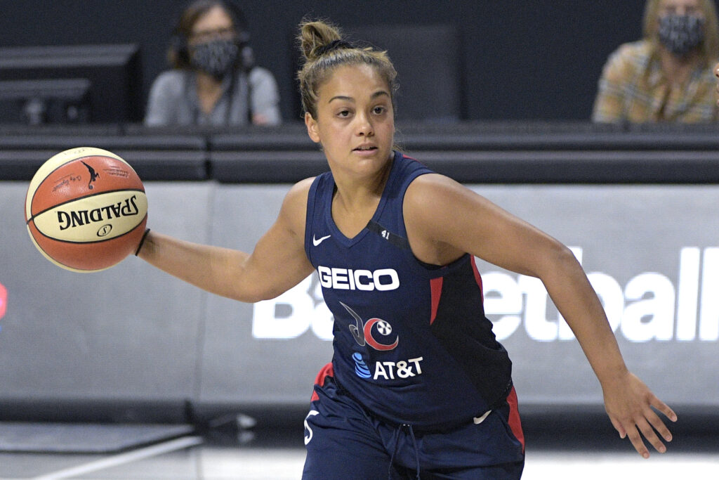 Washington Mystics guard Leilani Mitchell (5) sets up a play during the first half of a WNBA basketball first-round playoff game against the Phoenix Mercury, Tuesday, Sept. 15, 2020, in Bradenton, Fla.