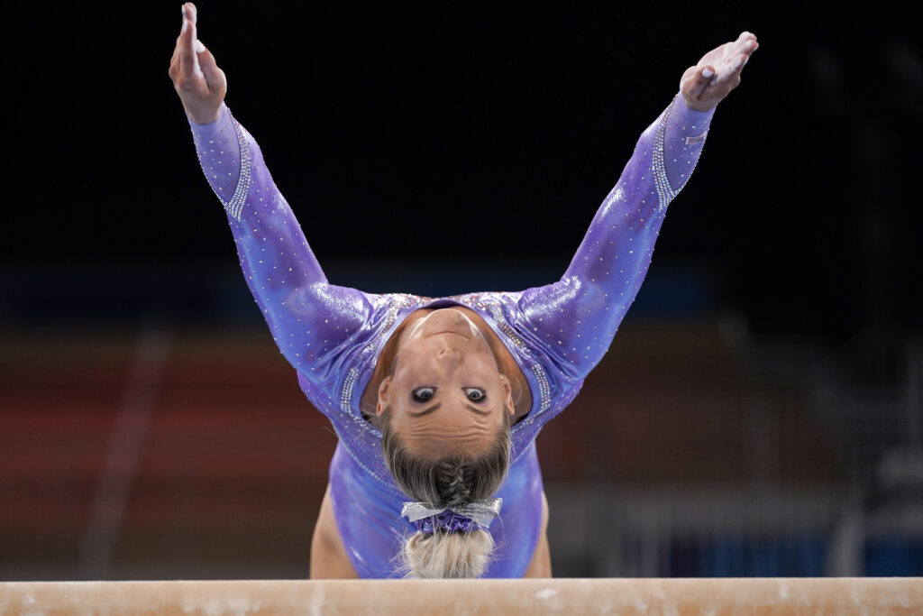 MyKayla Skinner, of the United States, trains on the beam during an artistic gymnastics practice session at the 2020 Summer Olympics, Thursday, July 22, 2021, in Tokyo, Japan.