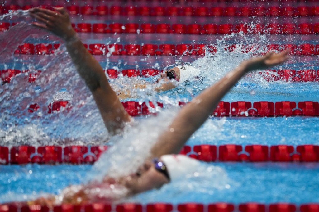 Rhyan Elizabeth White, of the United States, swims in a heat of the women's 200-meter backstroke at the 2020 Summer Olympics, Thursday, July 29, 2021, in Tokyo, Japan.