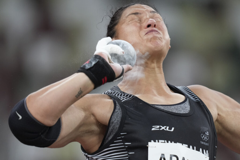 Valerie Adams, of New Zealand, competes in the qualification rounds of the women's shot put at the 2020 Summer Olympics, Friday, July 30, 2021, in Tokyo.