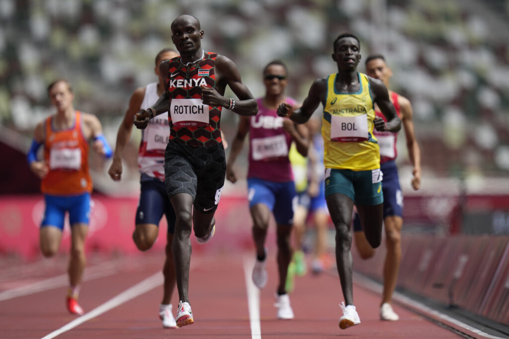 Peter Bol, of Australia, comes in second behind Ferguson Rotich, of Kenya, in a heat of the men's 800-meter run at the 2020 Summer Olympics, Saturday, July 31, 2021, in Tokyo.