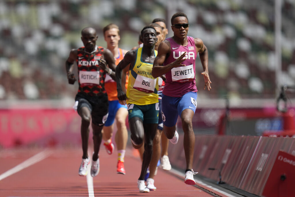 Peter Bol, of Australia, competes in a heat in the men's 800-meter run at the 2020 Summer Olympics, Saturday, July 31, 2021, in Tokyo.