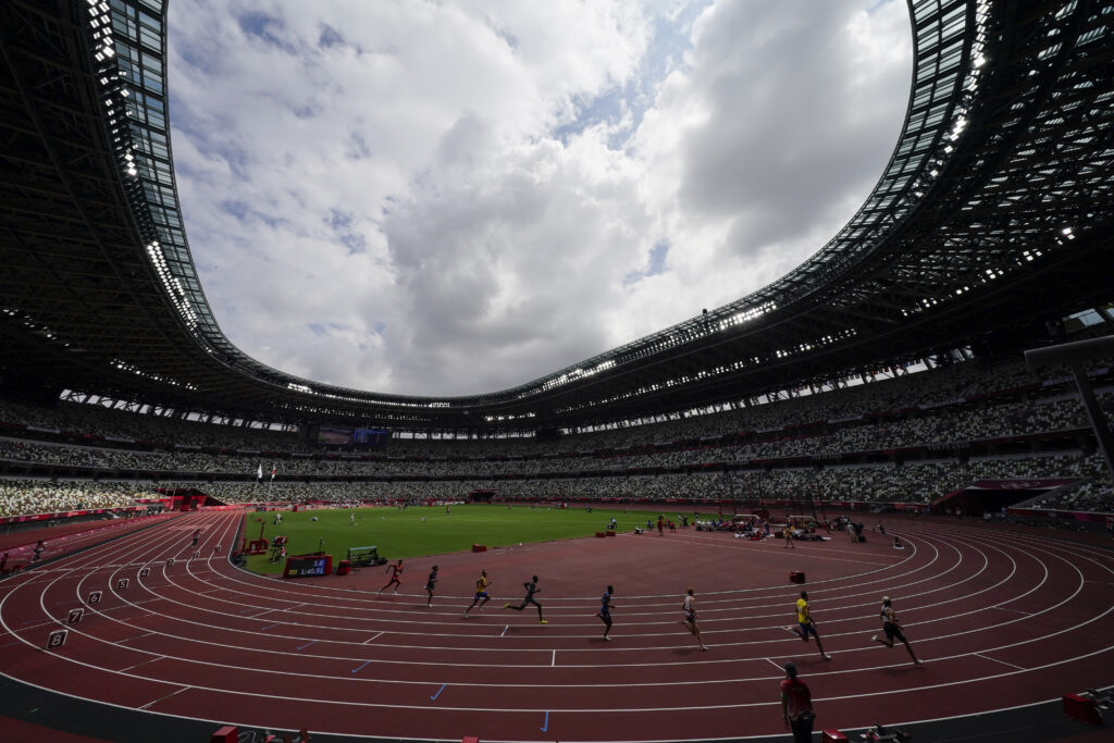 Runners competes in a heat in the men's 800-meter run at the 2020 Summer Olympics, Saturday, July 31, 2021, in Tokyo.