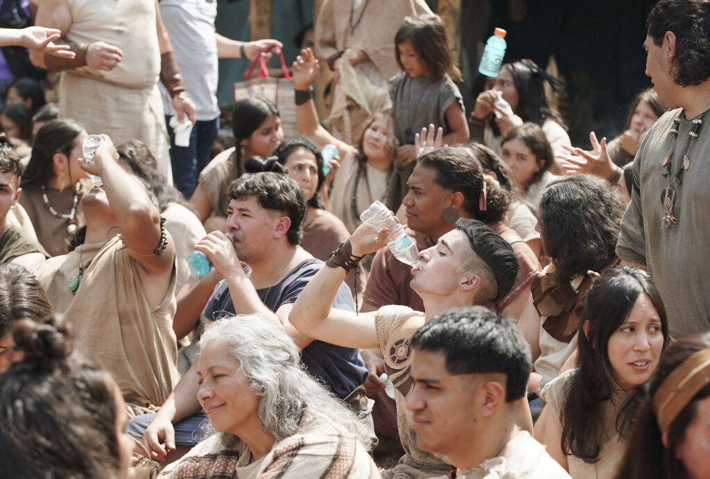 Extras try to stay hydrated as The Church of Jesus Christ of Latter-day Saints' production of the fourth season of Book of Mormon Videos is filmed near Springville, Utah, on Monday, July 26, 2021.