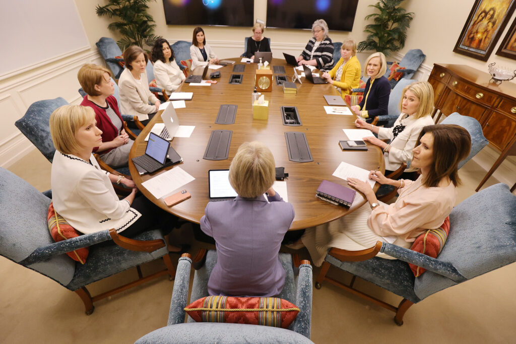 Relief Society General President Jean B. Bingham, center front, leads a meeting for the Relief Society, Young Women and Primary general presidencies at the Relief Society Building in Salt Lake City on Tuesday, May 18, 2021.