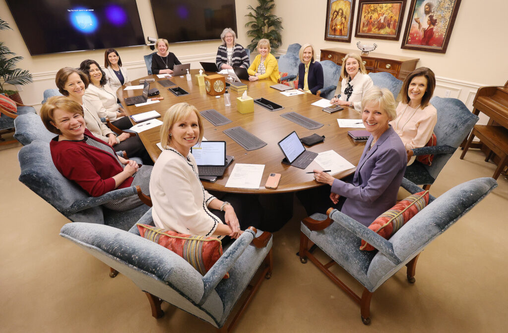 The Relief Society, Young Women and Primary general presidencies of The Church of Jesus Christ of Latter-day Saints attend a meeting together at the Relief Society Building in Salt Lake City on Tuesday, May 18, 2021.