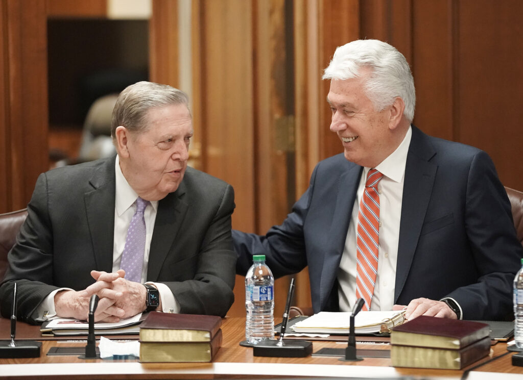 Elder Jeffrey R. Holland and Elder Dieter F. Uchtdorf chat prior to the Quorum of the Twelve Apostles' weekly meeting at the Church Administration Building in Salt Lake City on Tuesday, May 11, 2021.