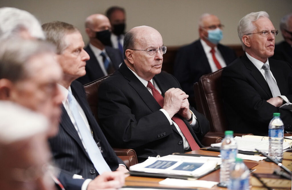 Elder Quentin L. Cook attends the Quorum of the Twelve Apostles' weekly meeting at the Church Administration Building in Salt Lake City on Tuesday, May 11, 2021.